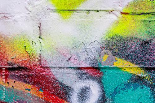 Graffiti painted on a brick wall texture. - 255893388
