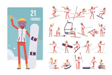 Sporty Young Woman On Winter Resort Character Set. Girl Enjoys Snow Outdoor Activities, Wintertime Recreation And Sport, Active Holiday Fun. Full Length, Different Views, Gestures, Emotions And Poses