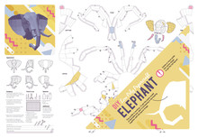 DIY Papercraft Elephant Head. Make Your Own 3D Low Poly Handicraft, Hunting Trophy Folding Kit. Printable Paper Craft Animal Model Template. Wall-mount Interior Decoration, Hobby Idea. Vector Layout