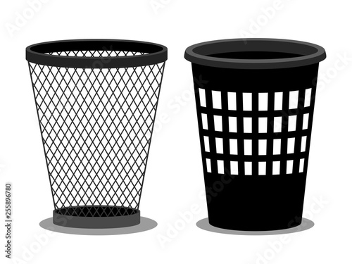 Photo Office style empty bins isolated on white background