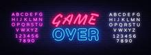 Game Over Neon Text Vector Des...