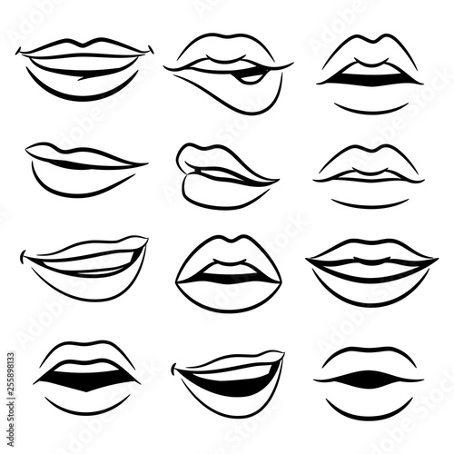 Black and white comic female lips vector set Canvas Print