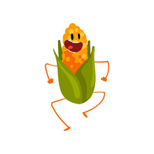 Laughing Corncob Having Fun, Cute Vegetable Character With Funny Face Vector Illustration