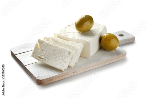 Fototapeta Tasty feta cheese on white background obraz