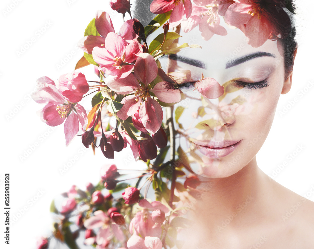 Fototapeta Unity of human with nature, beauty of youth and femininity