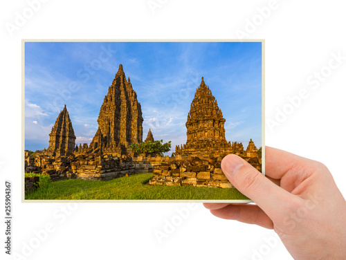 Hand and Prambanan temple in Indonesia (my photo) Canvas Print