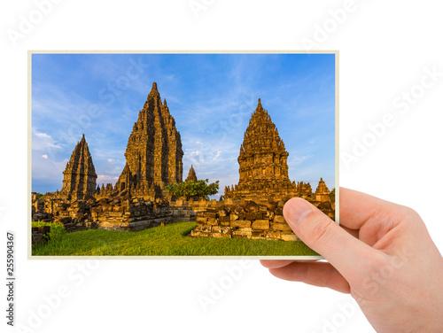 Hand and Prambanan temple in Indonesia (my photo) Wallpaper Mural