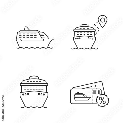 Fotografía  Cruise linear icons set