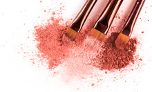 Smears Of Crushed Pink Blusher With Brushes