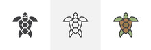 Sea Turtle Icon. Line, Glyph And Filled Outline Colorful Version, Turtle Animal Top View Outline And Filled Vector Sign. Symbol, Logo Illustration. Different Style Icons Set. Vector Graphics