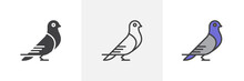 Carrier Pigeon Icon. Line, Glyph And Filled Outline Colorful Version, Dove Bird Outline And Filled Vector Sign. Symbol, Logo Illustration. Different Style Icons Set. Vector Graphics