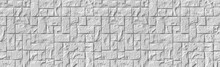 Panorama Of White Stone Tile Wall Texture And Seamless Background