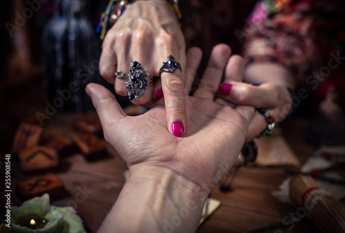 Cuadros en Lienzo Gypsy fortune teller predicts the future by chiromancy