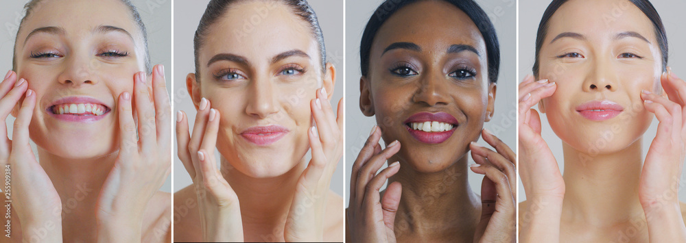 Fototapeta Collage of portraits of women of different ethnicities with beautiful faces and perfect skin just cleaned from impurities ready for day or night cream smiling in camera.