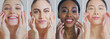 canvas print picture - Collage of portraits of women of different ethnicities with beautiful faces and perfect skin just cleaned from impurities ready for day or night cream smiling in camera.