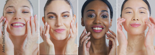 Foto  Collage of portraits of women of different ethnicities with beautiful faces and perfect skin just cleaned from impurities ready for day or night cream smiling in camera