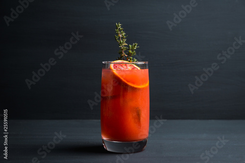 Poster de jardin Bar Bloody oranges beverage with thyme. Selective focus. Shallow depth of field.