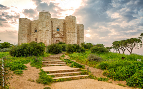 Castel del Monte is a 13th-century castle situated on a hill in Andria in the Apulia region of southeast Italy Canvas Print