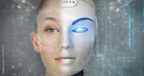 Portrait of a beautiful woman's face with half human face and half-face robot with advanced and futuristic technology Wallpaper Mural