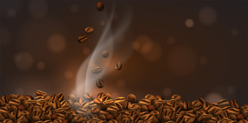 Fototapeta Popularne Coffee background. Coffee beans and rising smoke. The effect of transparency. 3D vector. High detailed realistic illustration