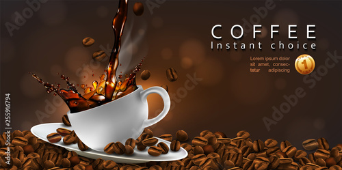 Fototapeta Coffee  advertising design  with coffee beans and a cup of steaming coffee.  Transparency effect. 3D vector. High detailed realistic illustration obraz