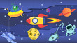 Cartoon Space. Cartoon rocket flies in outer space past the suspended planets, satellites and other objects. Illustration, vector.