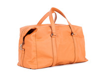 Orange-brown  Leather Bag For Storing Things And Traveling On A White Isolated Background. Luggage, Handmade Suitcase