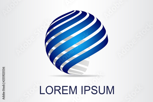 Fotomural  Abstract technology logo stylized spherical surface with abstract shapes