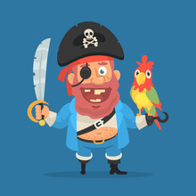 Pirate Holds Parrot And Sword. Funny Character