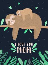 Vector Image Of A Sleepy Sloth...