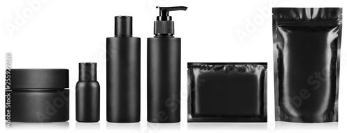 Big set of black personal hygiene products, isolated on white background Billede på lærred