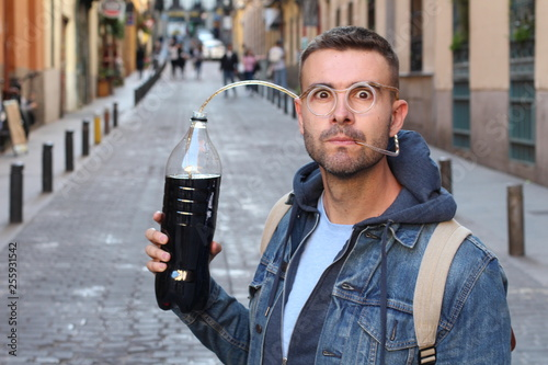 Funny pic of man addicted to soda Canvas Print