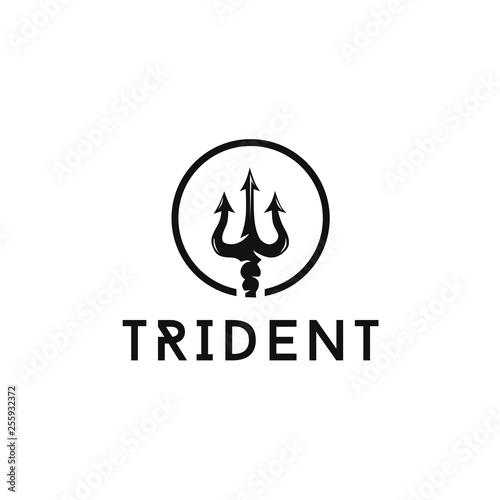 Fotografia circular trident vector logo design