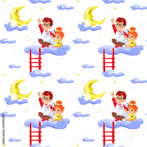Seamless Children Pattern With Cute Boy And Little Girl Clouds Stars And Moon Creative Kids Texture For Fabric Wrapping Textile Wallpaper Apparel Concept Of Children S Learning Buy This Stock Vector And