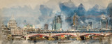 Watercolour painting of Panorama of London skyline showing modern, traditional and construction in the city. - 255933771