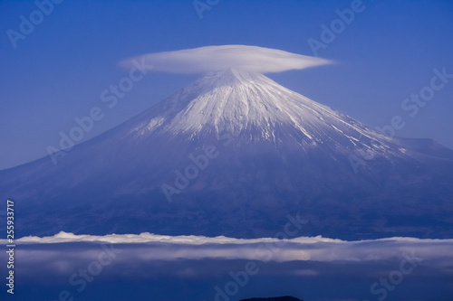 Góra Fuji w zimie, wspaniały widok na Japonię, Rei Mine Fuji, Shimizu Yoshihara i Unkai