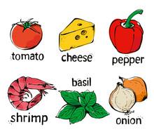 Pizza Ingredients Vector Set, Hand Drawn Food Illustration