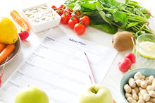 Balanced Nutrition And Meal Planning Concept. Fresh Fruits And Vegetables,seeds And Nuts For Healthy Lifestyle