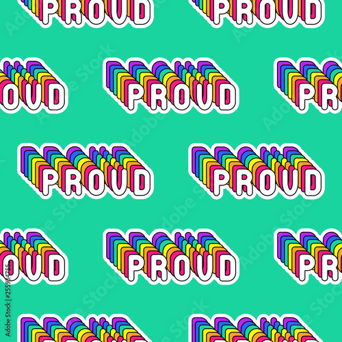 "Fotografie, Obraz  Seamless pattern with rainbow-colored words ""Proud"" isolated on green background"