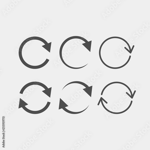 Fototapeta  Recycling flat vector icons set. Arrows flat vector icons set