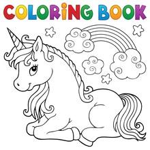 Coloring Book Stylized Unicorn...