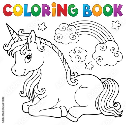 Poster de jardin Enfants Coloring book stylized unicorn theme 1