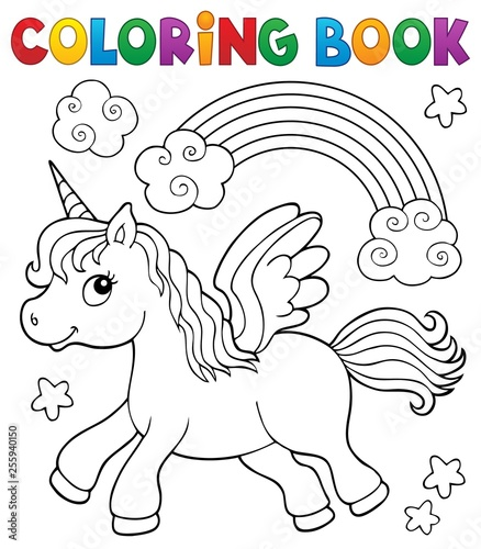 Door stickers For Kids Coloring book stylized unicorn theme 2