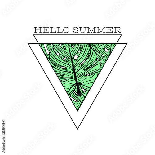 Poster Retro sign minimalistic hello sunnmer poster