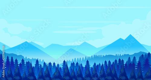 Montage in der Fensternische Licht blau Winter Mountains landscape with pines and hills.