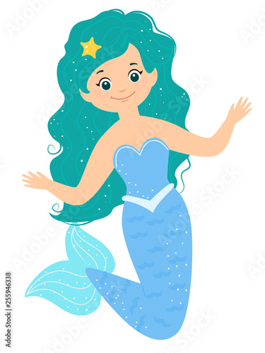 Wall Murals Mermaid Cartoon smile blue mermaid with starfish in her hairs.