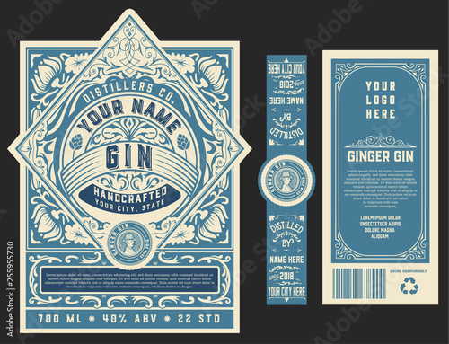 Vintage Gin label template