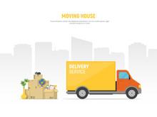Concept Moving House. Pile Car...
