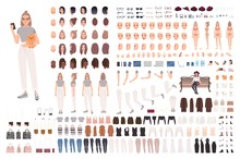 Stylish Young Woman Animation Set Or Constructor Kit. Collection Of Body Parts, Gestures, Trendy Clothes And Accessories. Female Cartoon Character. Front, Side, Back Views. Flat Vector Illustration.