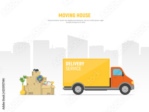 Fototapeta Concept moving house. Pile cardboard boxes with truck on cityscape background. Relocate to new home or office. Vector illustration in flat style. obraz